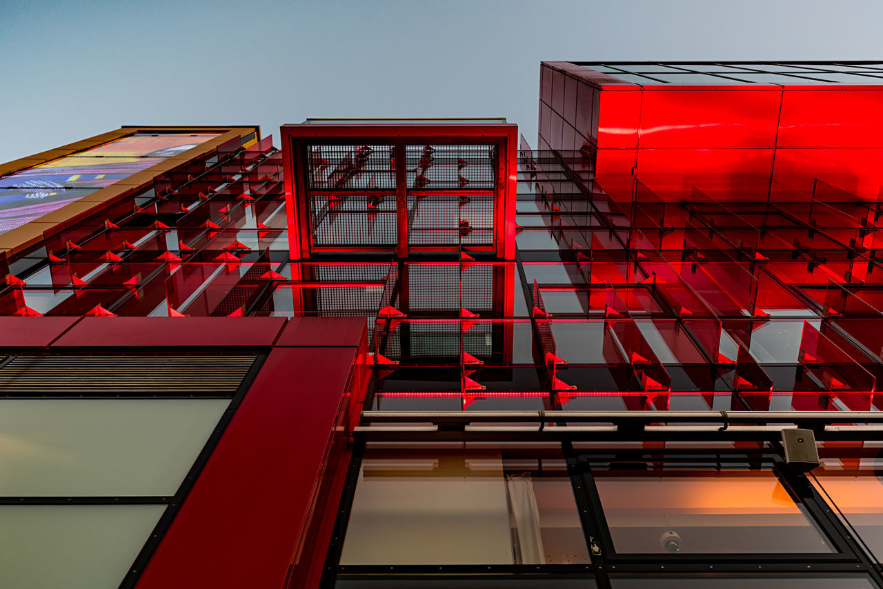schmitz theater Evening Light Hamburg Altona Modern Architecture Tourist Attraction  Architecture Building Exterior Built Structure Day Flag Low Angle View No People Outdoors Red Red Facade Schmitz Theater Sky Theatre