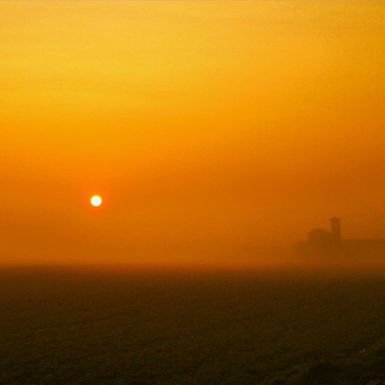 sunset, sun, outdoors, fog, scenics, nature, silhouette, no people, tranquility, beauty in nature, sky, day