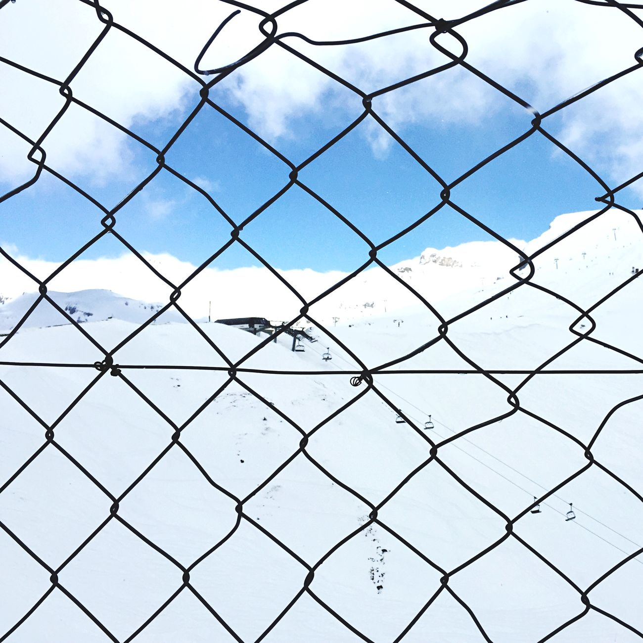Fence , Snow, Mountains And Sky ( Safety First! )