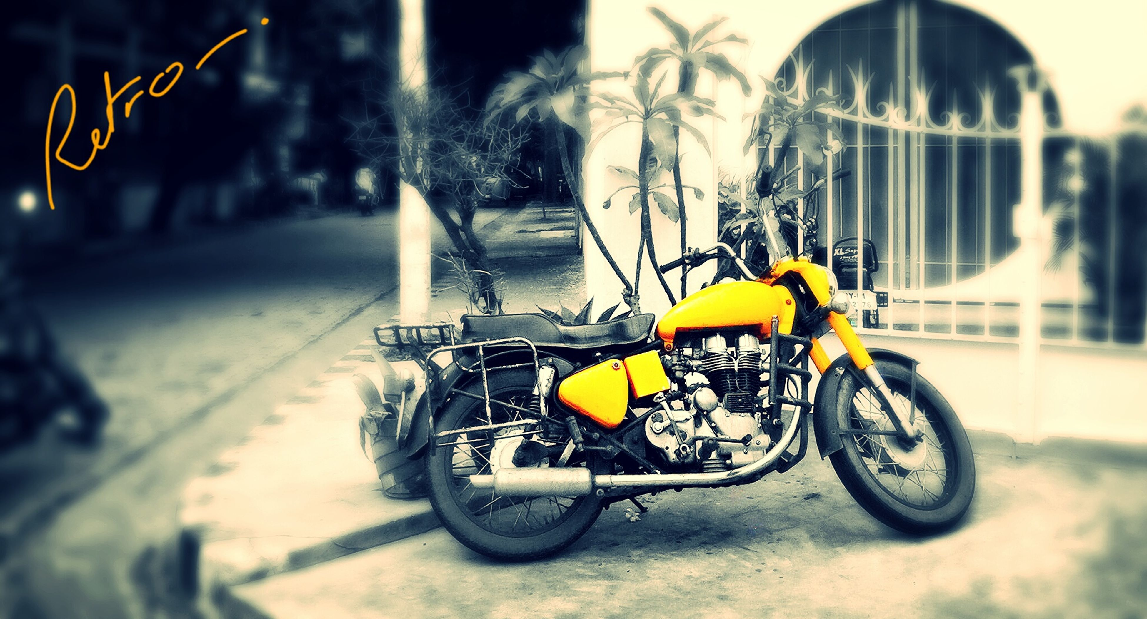 bicycle, transportation, mode of transport, land vehicle, stationary, parked, parking, street, road, yellow, cycle, motorcycle, car, riding, day, outdoors, side view, no people, building exterior, focus on foreground