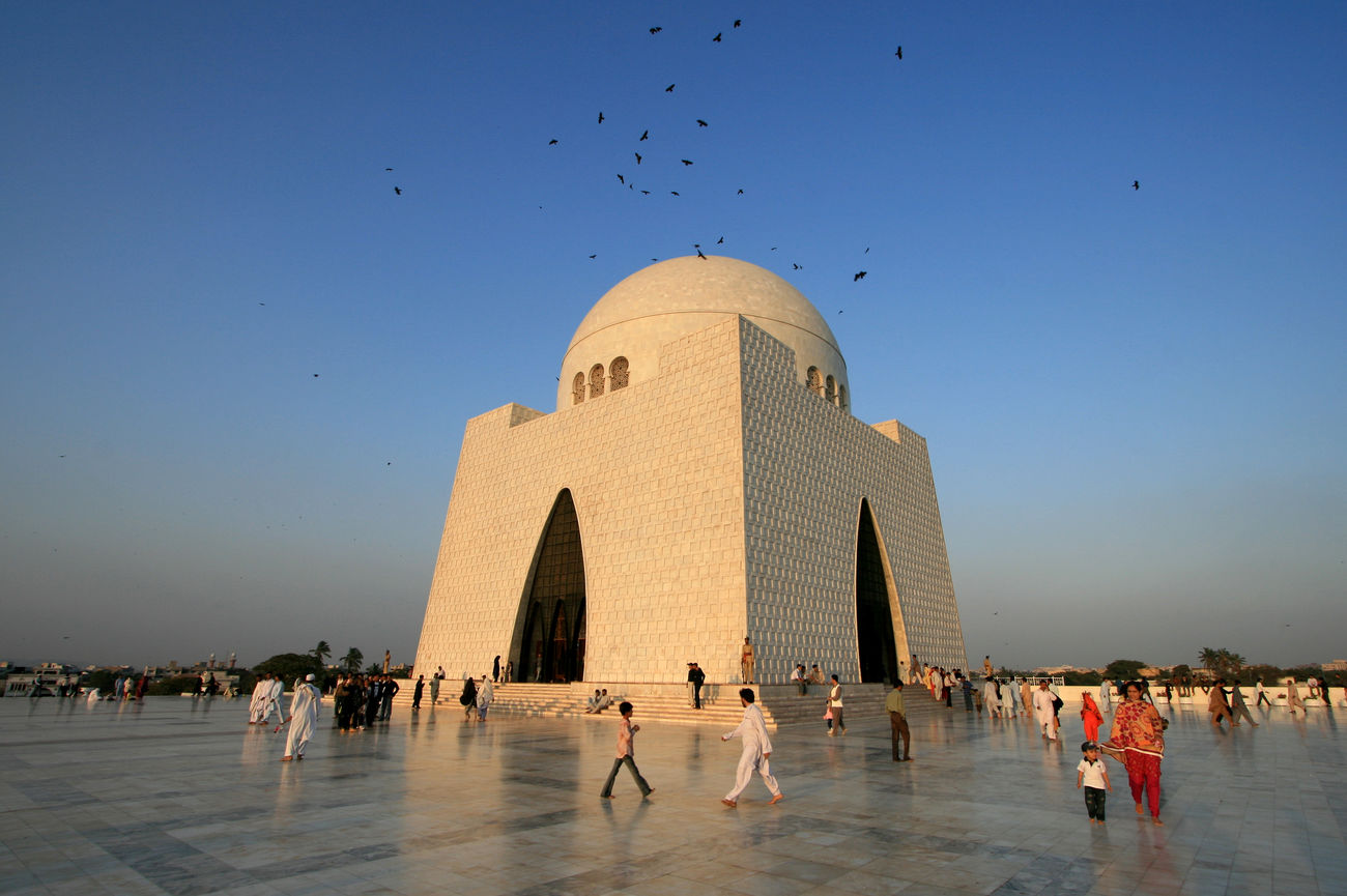 The Mausoleum of Quaid-i-Azam at dusk. It is a monument to Pakistan's founder Mohamed Ali Jinnah. Karachi, Pakistan Architecture Built Structure Day Dome Karachi Karachi Pakistan Large Group Of People Mausoleum Outdoors Pakistan People Quaid-i-Azam Sky Travel Travel Destinations Architectural Feature Islamic Architecture Building Exterior White People And Places