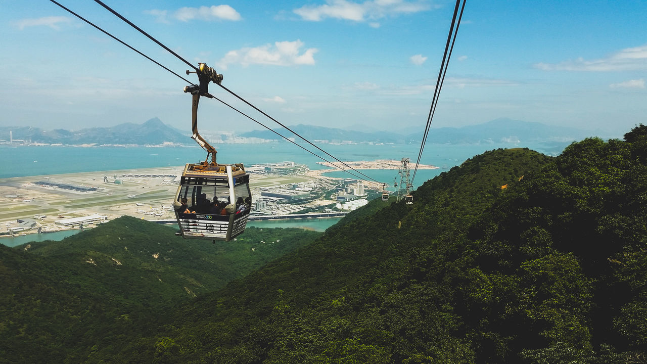 Sky Outdoors Cable Car Hong Kong Ngong Ping Great Buddha Big Buddha Tian Tan Buddha (Giant Buddha) 天壇大佛 Lantau Island Lantaupeak Travel High Angle View High Greeen Hills