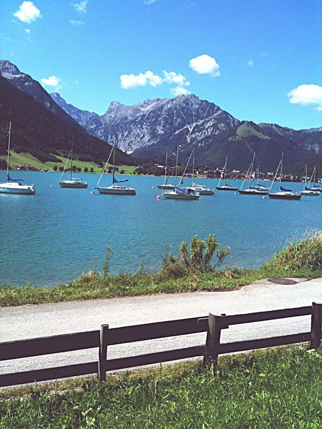 Austria Achenkirch Lake Boat Achensee Landscape Landscape_Collection Parachute Water Mountains Mountain Mountains And Sky