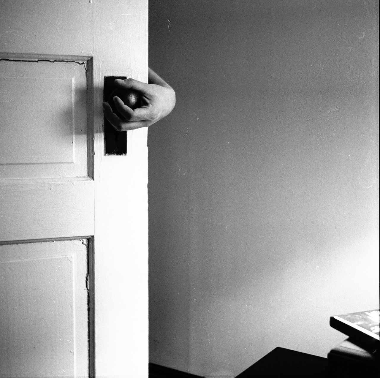 March 17, 2015 black and white door self portrait
