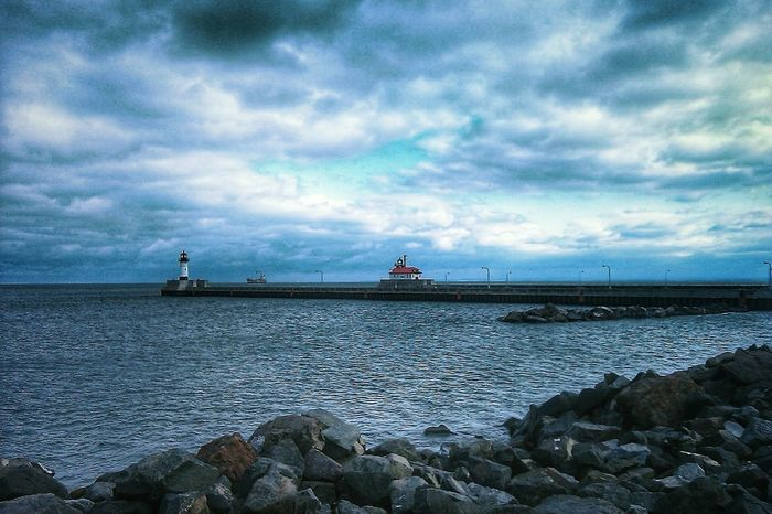 Canal Park Duluth Minnesota Lake Superior Lake Superior Shore Great Lakes Landscape Horizon Over Water Nautical Vessel North Shore Minnesota Clouds And Sky No People Travel Destinations Water Sky Cloud - Sky Harbor Storm Cloud