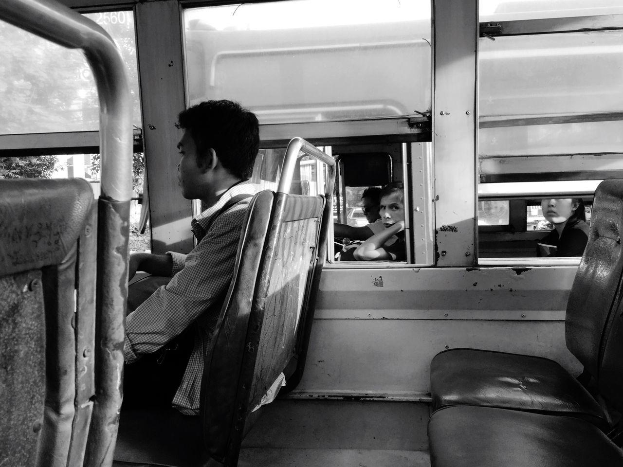Bus Bus Traffic Jam Transportation Traveling Look Looking At Camera Eye Asian  Man Thailand Bangkokbus Pepole Street Life