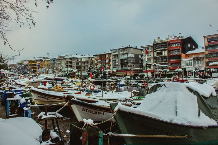 Coldday City Outdoors Snow ❄ Seaside Sea Beauty In Nature Canonphotography Canon700D Outdoor Photography January Winter Turkey Cold Boats Cloud - Sky Buildings Colorful City