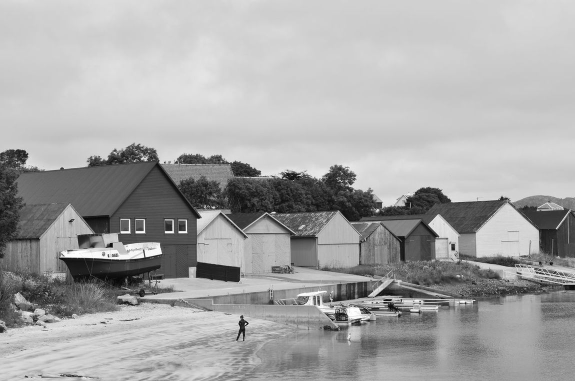 All Alone Architecture Boat Building Exterior Harbour Looking Around Norway Small Town Solo Water's Edge Black And White Photography Blackandwhite Photography