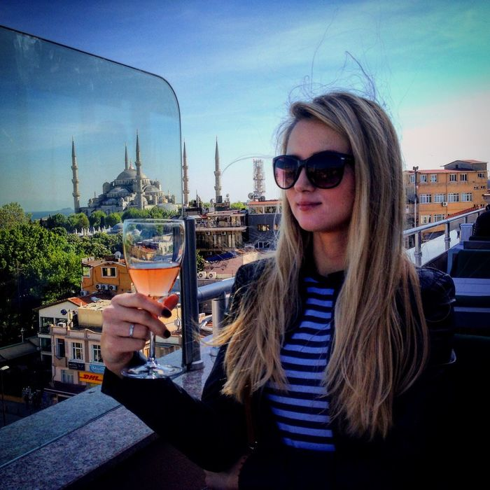 Wine Moments Self Portrait Long Hair Real People Young Women Lifestyles Architecture Blond Hair City Smiling Beautiful Woman Life Nice Eattime Ready-to-eat Food And Drink Wine Girls Woman