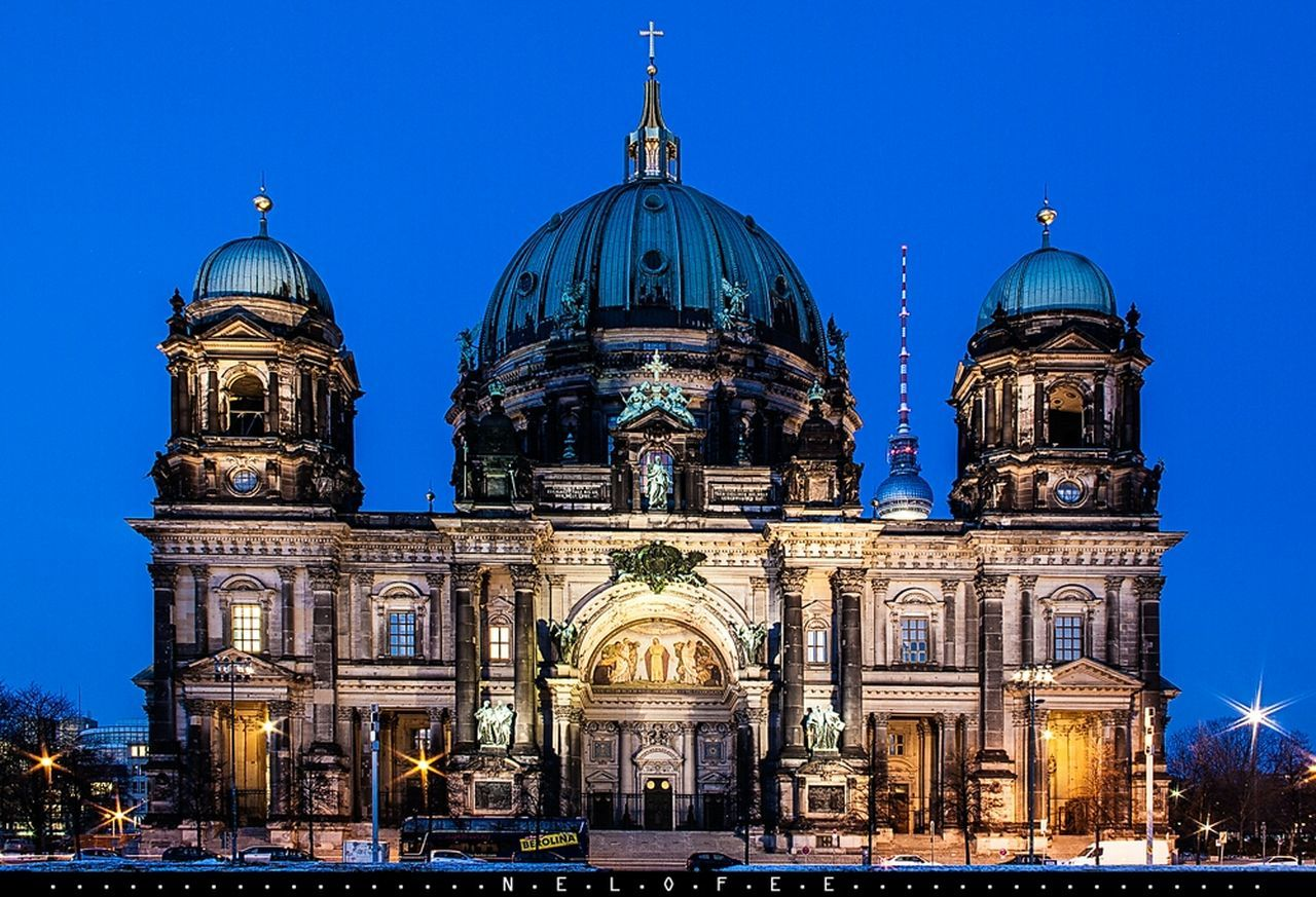 religion, place of worship, spirituality, architecture, dome, building exterior, built structure, blue, outdoors, illuminated, travel destinations, sky, night, clear sky, no people