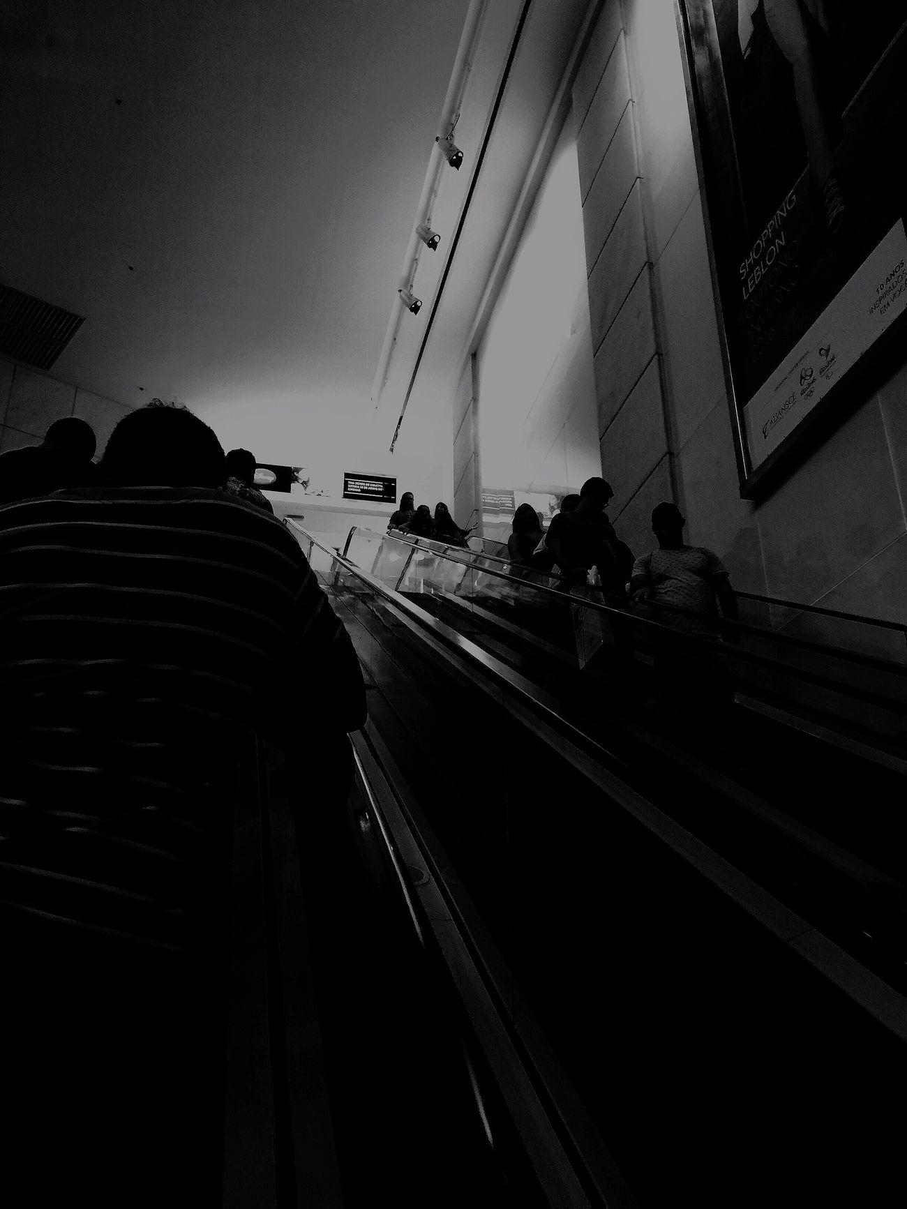 Enjoy The New Normal Real People Transportation Group Of People Moving Walkway  Blackandwhite Black And White Black & White Blackie App
