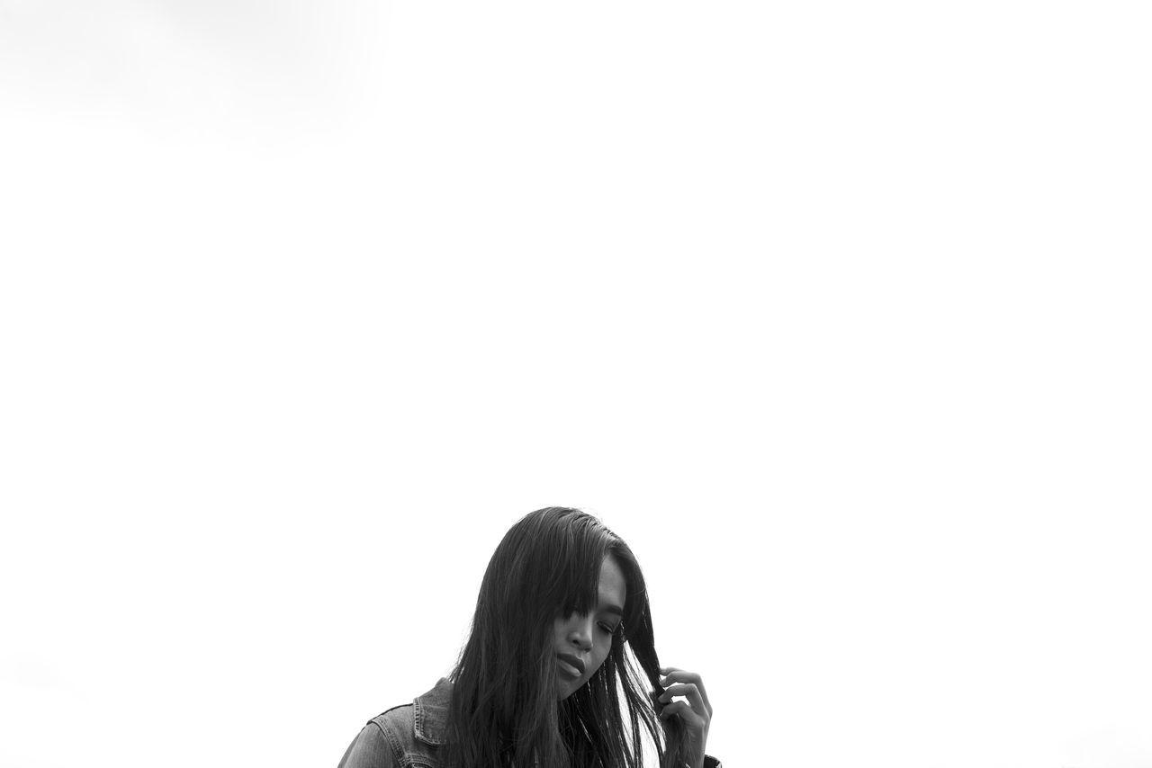 Asian Girl B&W Portrait Bali Copy Space Fashion Model Headshot Lifestyles Long Black Hair Makeportraits Minimal Monochrome One Person Portrait Of A Woman Real People Sky Street Portrait The Portraitist - 2017 EyeEm Awards White Background Young Women