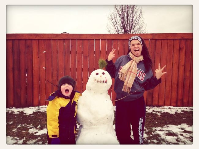 My cousin & our snowman