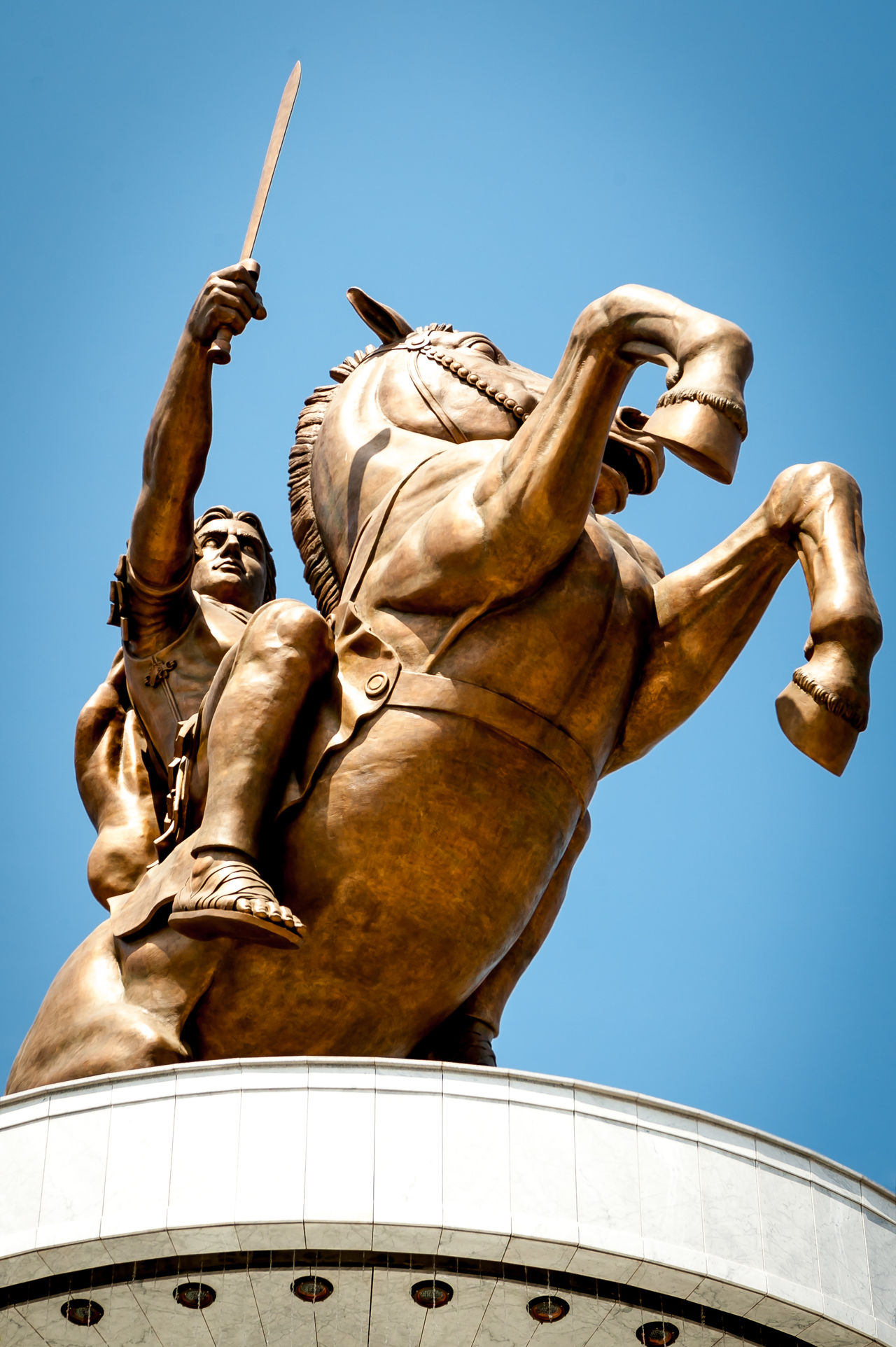 Alexander the great statue in Skopje center ALEXANDER THE GREAT GREEK LEADER Architecture Bronze - Alloy City Clear Sky Day Human Representation Low Angle View Macedonia No People Outdoors Sculpture Skopje Sky Statue Statue Travel Destinations