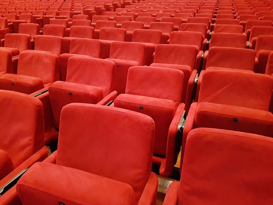 Monochrome Red In A Row Seat Arts Culture And Entertainment Auditorium Empty Performing Arts Event Stage - Performance Space Event No People MOVIE Minimalism Minimalist Beautifully Organized Abstract