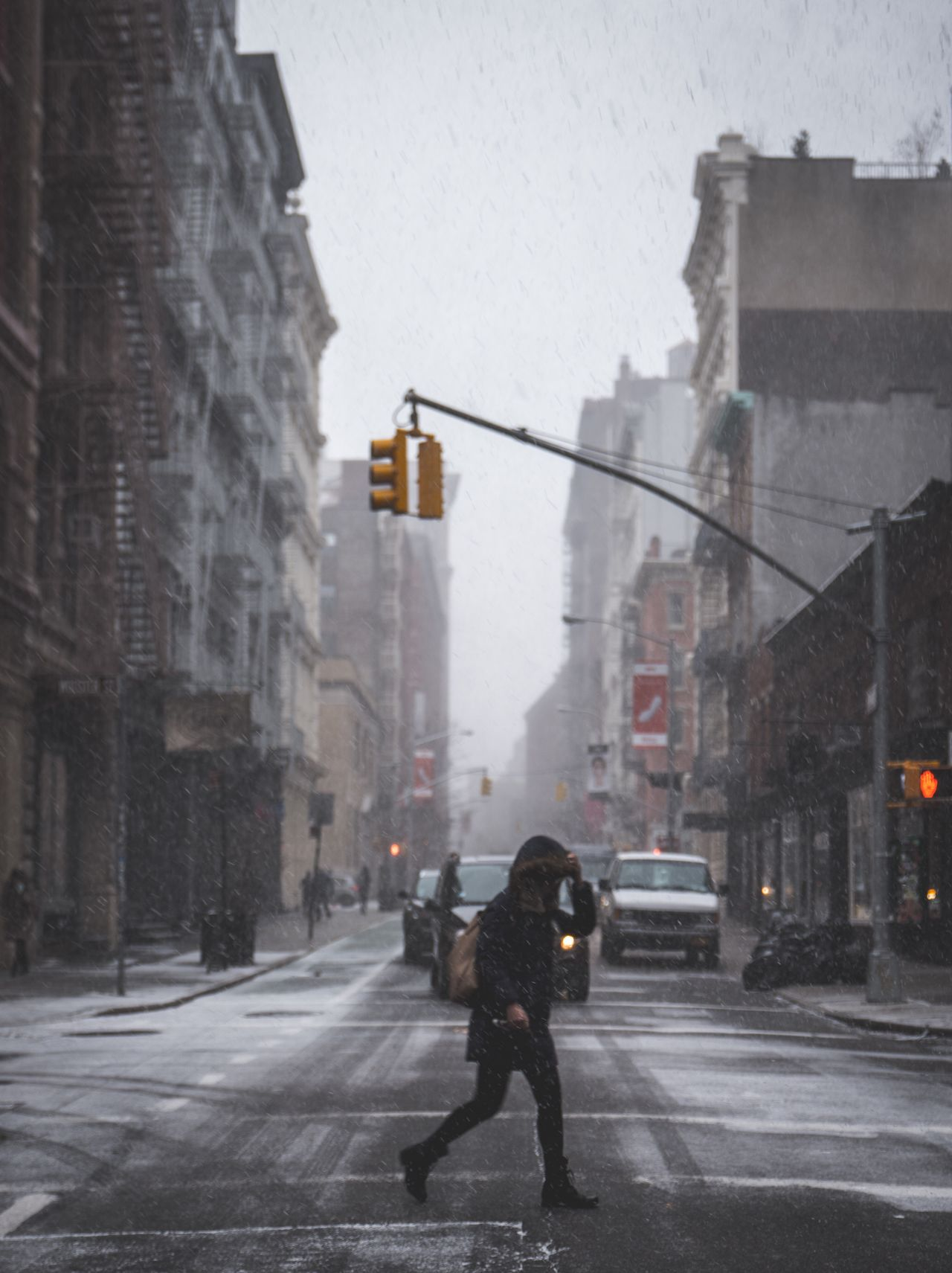 City Street Real People One Person Building Exterior Full Length Outdoors Built Structure Snow Snowing Lifestyles Rear View Winter Architecture City Life Cold Temperature Road Day One Man Only Men Finding New Frontiers