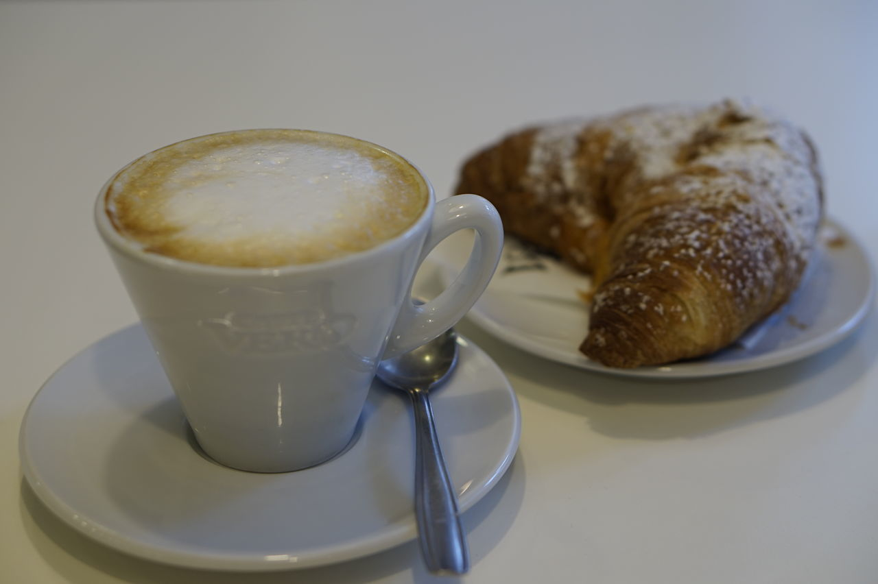 Baked Bread Breakfast Breakfast Cafe Time Caffè Cappuccino Close-up Coffee - Drink Coffee Cup Colazione Continental Breakfast Croissant Day Drink French Food Freshness Good Morning Indoors  Morning No People Table White Background
