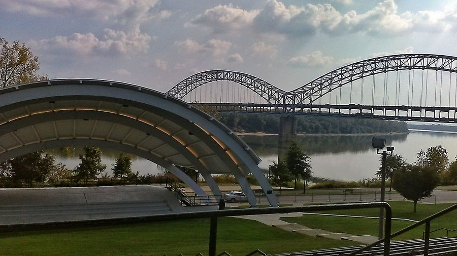 Bridge - Man Made Structure Rollercoaster Water Built Structure Architecture Sport Sky No People Outdoors Golf Club Day 100 Shades Of Yellow Lost In The Landscape EyeEmNewHere Cloud - Sky Tranquility EyeEm Selects Reflection Ohio River Bridge Sherman Minton Bridge Blue Tree Steel City Cityscape
