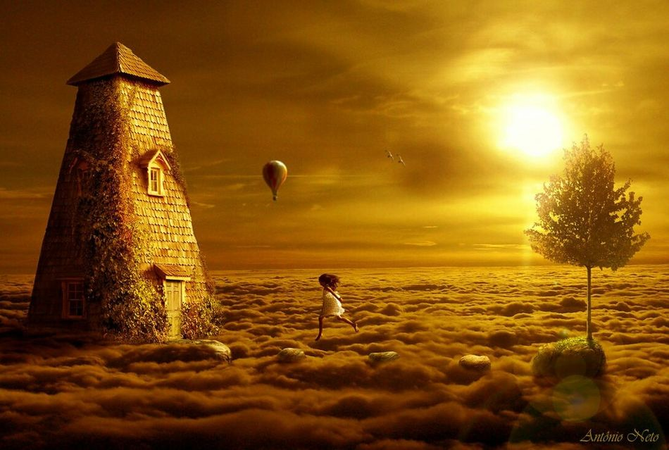 Dream Land <3 Sky And Clouds Hot Air Balloons Tower Living In The Clouds