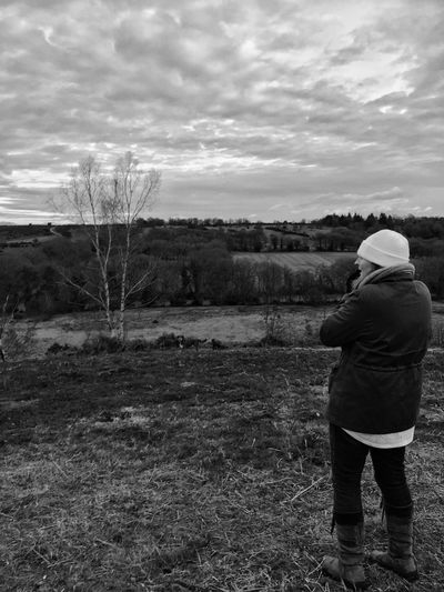 Bnw_collection Black And White Photography Real People One Person Sky Lifestyles Landscape Nature Outdoors Rear View Leisure Activity Day Beauty In Nature Field Scenics Tranquility New Forest National Park Family Walks New Forest, Hampshire. UK Warm Clothing Week On Eyeem Long Goodbye Lost In The Landscape