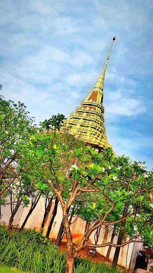 Golden Pagoda Magnificent Architecture Pagoda Golden Pagoda Gold Architecture Tree And Sky Amazing Nature Bangkok Thailand Thailandtravel My Capture  Travelgram The Ancient City Travel Photography Thailand What I Saw EyeEm Thailand 43 Golden Moments