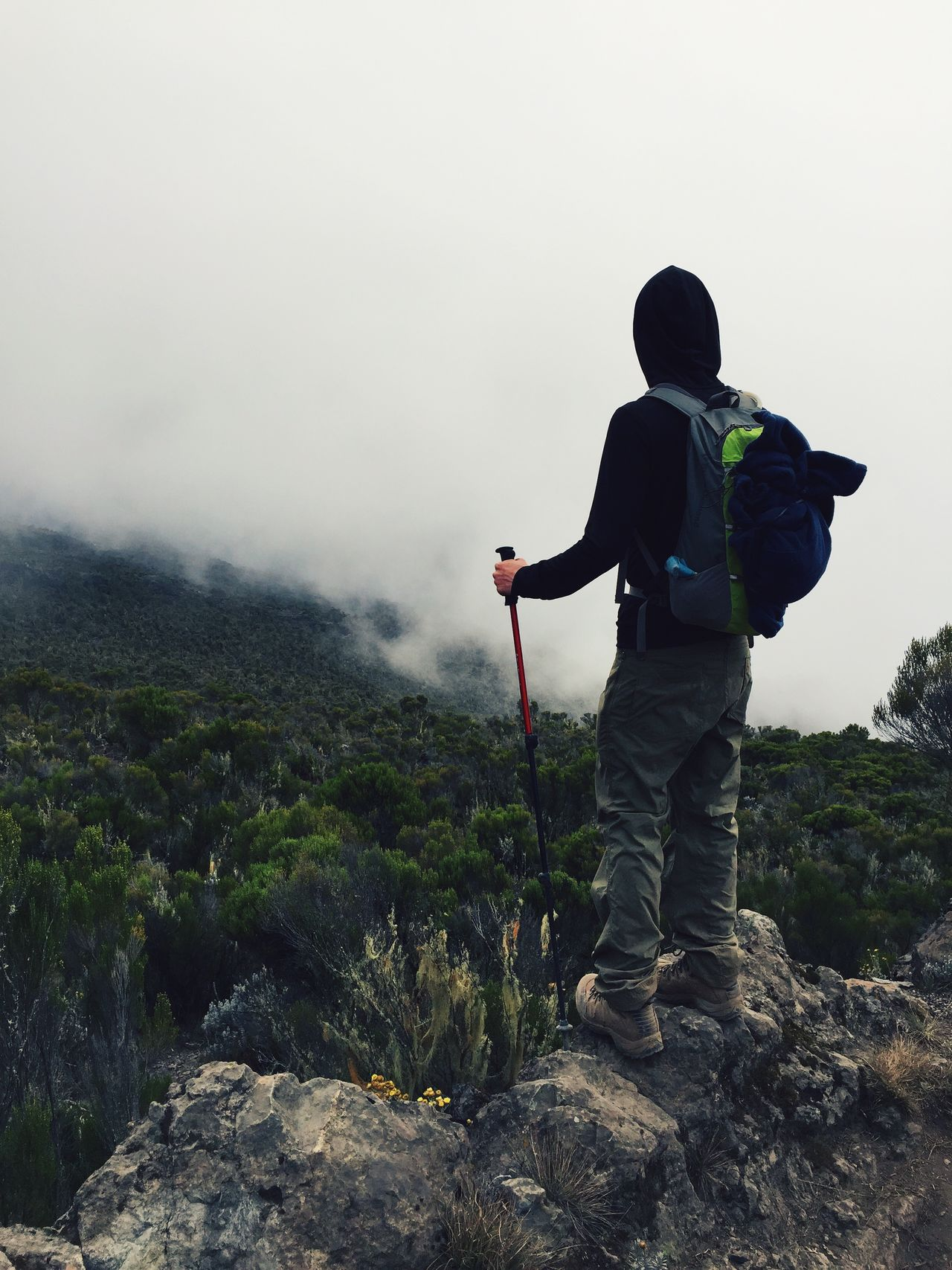 Adventure Backpack Beauty In Nature Casual Clothing Cloud - Sky Day Full Length Hiking Hill Landscape Leisure Activity Lifestyles Mountain Nature Non-urban Scene Outdoors Plant Rock - Object Scenics Sky Standing Tranquil Scene Tranquility Warm Clothing Weather