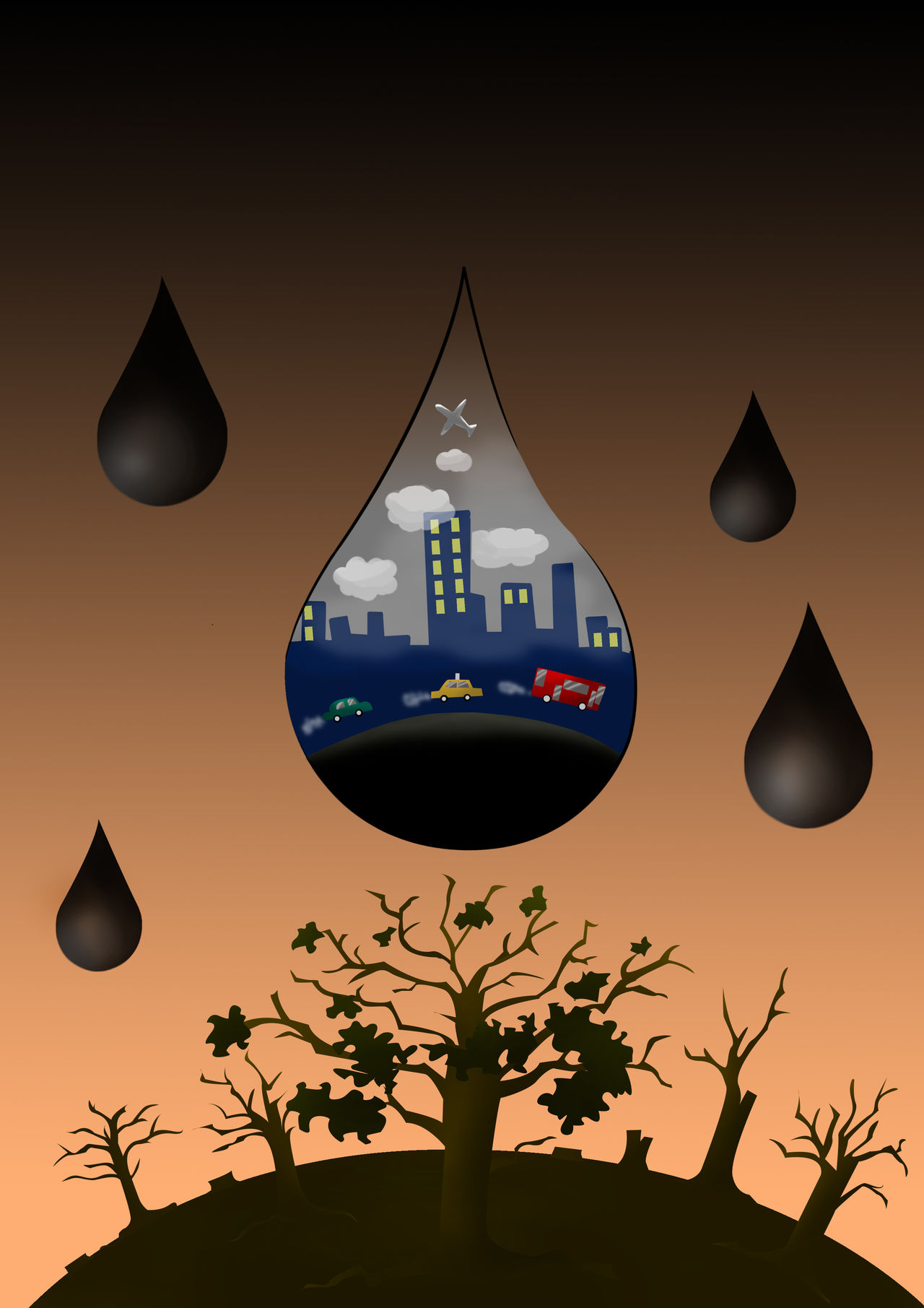 ฉoncept idea /Pollution of the world / When industrial growth The world is destroyed Air Atmosphere Building Carbon Chemistry City Climate Clouds Concept Dark Dead Destroyed Died Energy Environmental Conservation Gas Industry Pollution Smog Smoke Technology Tree Urban Water World