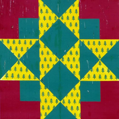 Multi Colored Yellow Red Wood - Material No People Day Close-up Wood Quilt Square Green Color In The Details Vintage Architecture Red Color Green Color, Shabby Weathered