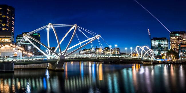 Melbourne River Reflection City Australia Cityscapes Bridge Nightlights Blue Sky @glennsgregory Yarra River Melbourne City Citylife Arch City Skyline Australia
