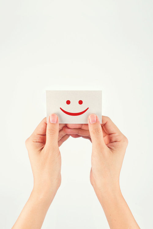 Advertising Business Card Celebration Close-up Communication Concept Emoji Face Girl Giving Happy Holding Human Hand Love Message Note Reward Simplicity Smile SMILY FACE Success