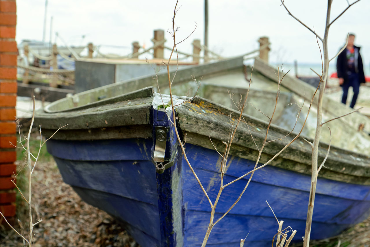 Old boat - Beach Blue Boat Day Idle Nautical Vessel Ornament Outdoors Rigging Sky Transportation Water