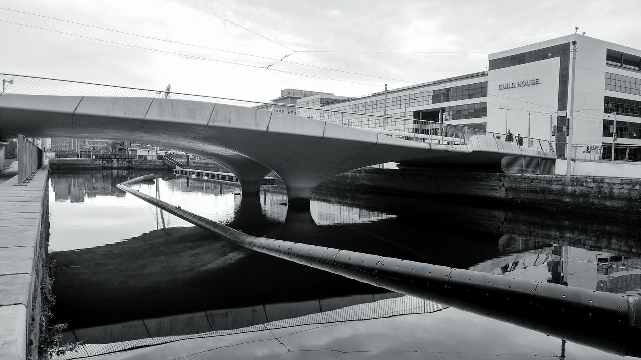 Water Reflection Sky Outdoors Bridge - Man Made Structure No People Day Pipe Geometric Abstraction River View City Dublin Street Photography Dublincity Dublin Dry Dock