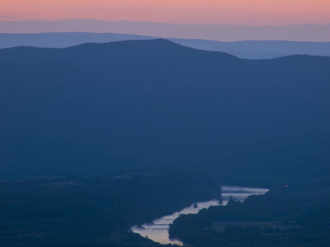 Aerial View Beauty In Nature Blue Ridge Mountains Dramatic Idyllic Landscape Majestic Mountain Mountain Range Nature No People Orange Sky Remote River Riverside Scenics Sky Summer Night Tourism Tranquil Scene Tranquility Travel Destinations Virginia