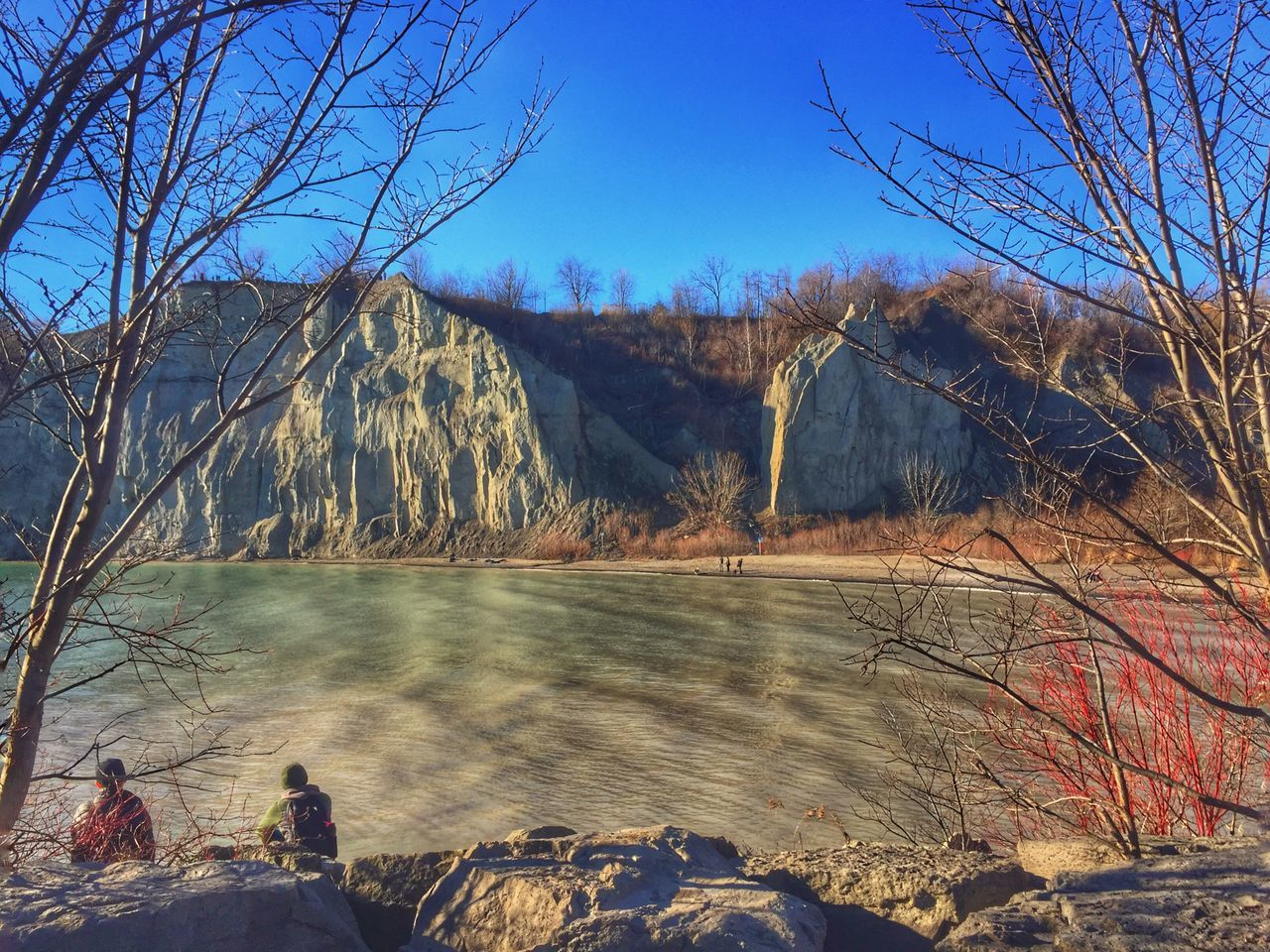The warm days of winter. Nature Water Beauty In Nature Tree Scenics Rock - Object Tranquility Non-urban Scene Tranquil Scene Day Lake Landscape Outdoors Mountain Clear Sky No People Sky Reservoir Cliffside Toronto Scarborough Bluffs Lake Ontario