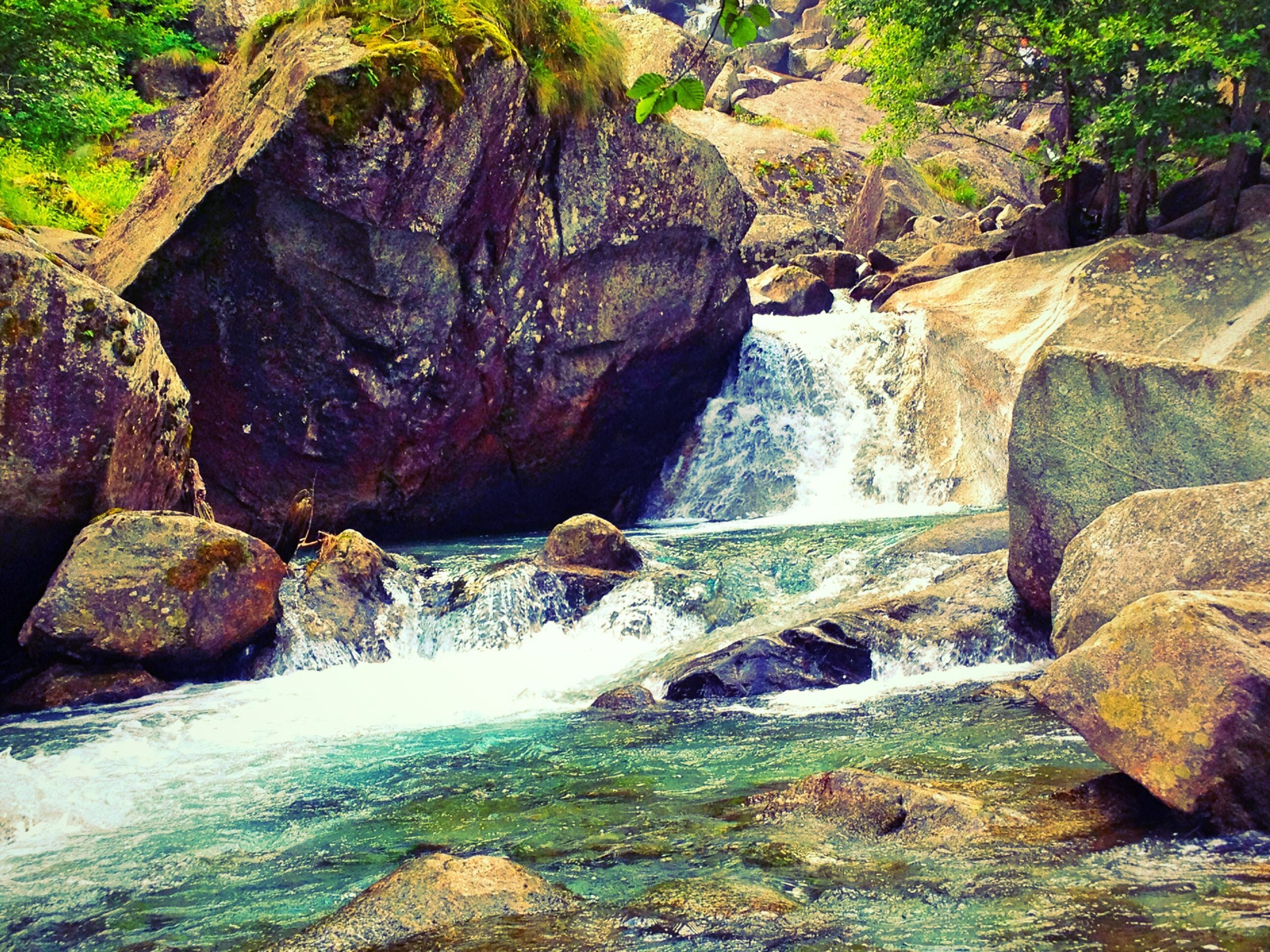 water, rock - object, waterfall, rock formation, flowing water, beauty in nature, flowing, nature, motion, scenics, rock, stream, river, long exposure, forest, tranquility, tree, tranquil scene, idyllic, day