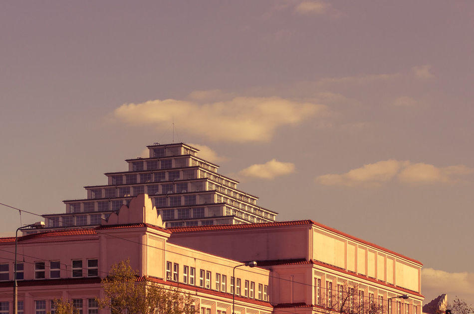 Day 58, one of the city ships while on my way at work. 365 365 Day Challenge 365project Architecture Building Exterior Built Structure City Cloud - Sky Day Low Angle View Modern No People Outdoors Poland Purple Sky Warsaw Poland