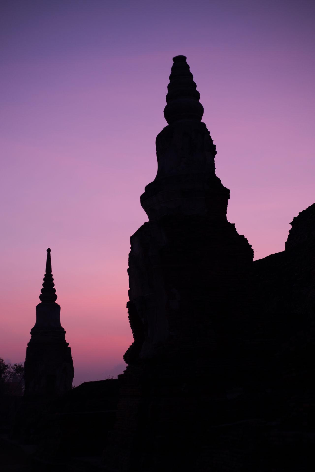Sunrise in Ayutthaya, Thailand Animals Ayutthaya Ayutthaya | Thailand Pink Place Of Worship Purple Purple Sky Religion Silhouette Sunrise Temple Thailand Travel Unesco UNESCO World Heritage Site Wat