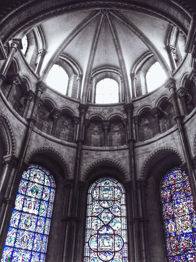Arch Low Angle View Church Window Religion Architecture Place Of Worship Spirituality Built Structure Cathedral Ceiling Façade Majestic Architectural Feature Gothic Style Day Outdoors Notre Dame De Paris Arched History Colour Splash Stained Glass Stained Glass Window