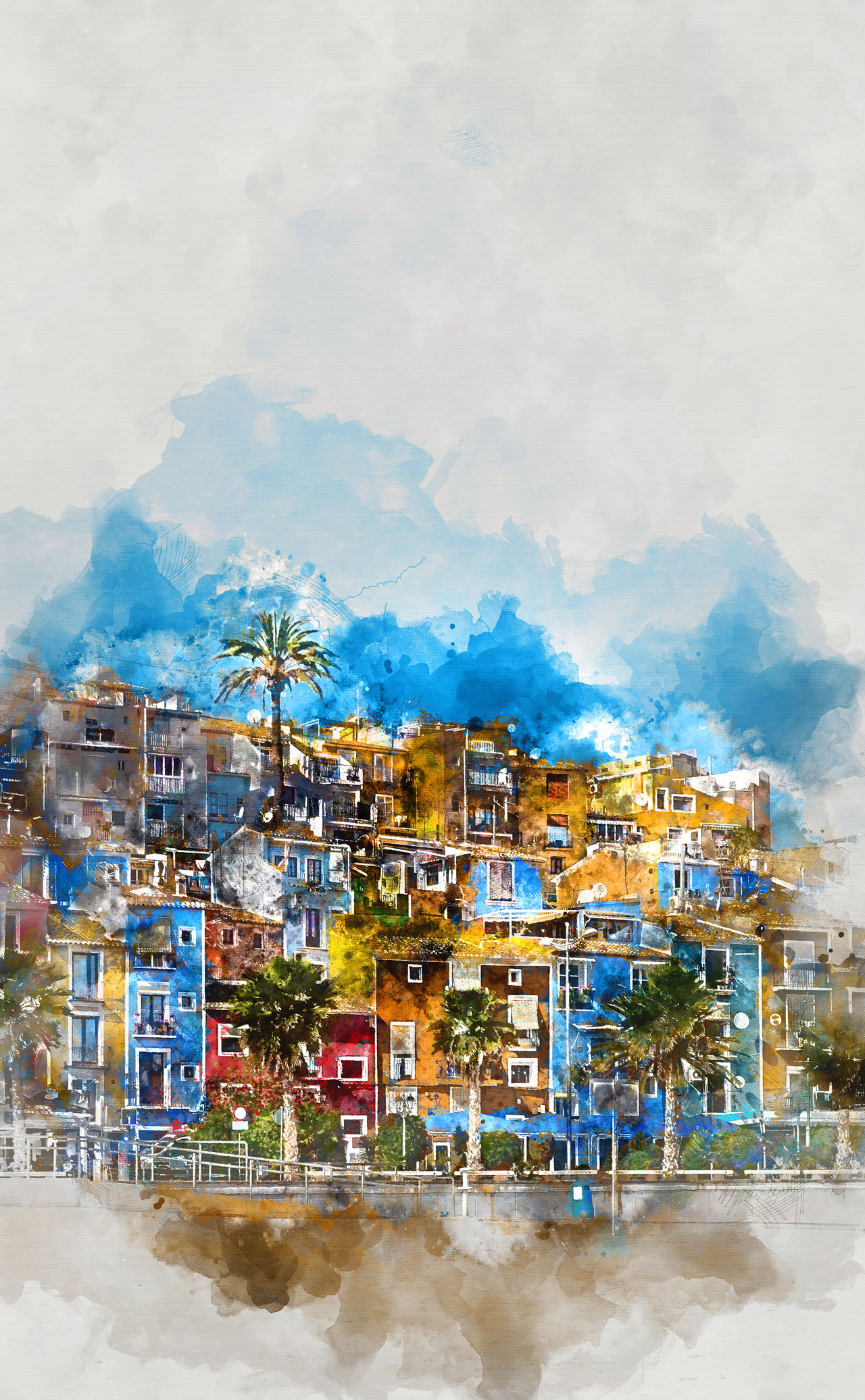 Digital watercolor painting of Villajoyosa town, Costa Blanca. Province of Alicante, Valencian Community, Spain Alicante Province Spain Architecture Art Colorful Costa Blanca Digital Art Digital Painting Digitally Generated Europe Houses Illustration Multicolored Houses No People Outdoors Palm Trees Picturesque Village SPAIN Tourism Tourist Resort Town Travel Destinations Villa Joyosa Village Villajoyosa