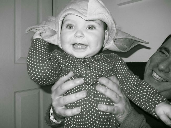 Modern Father Star Wars Yoda The Force Is Stong In This One Eye4photography  Blackandwhite Father And Daughter