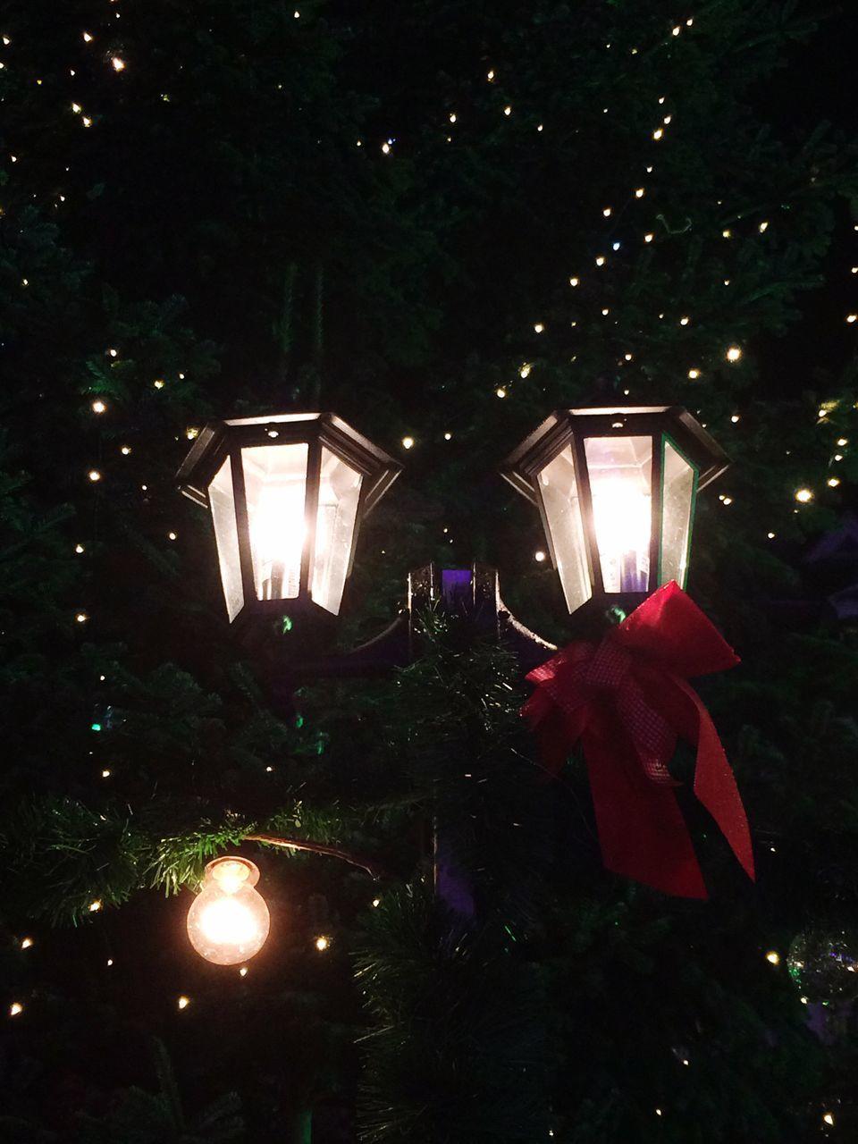 illuminated, night, lighting equipment, christmas, christmas tree, glowing, christmas decoration, celebration, tree, christmas lights, electric light, no people, christmas ornament, low angle view, outdoors, close-up