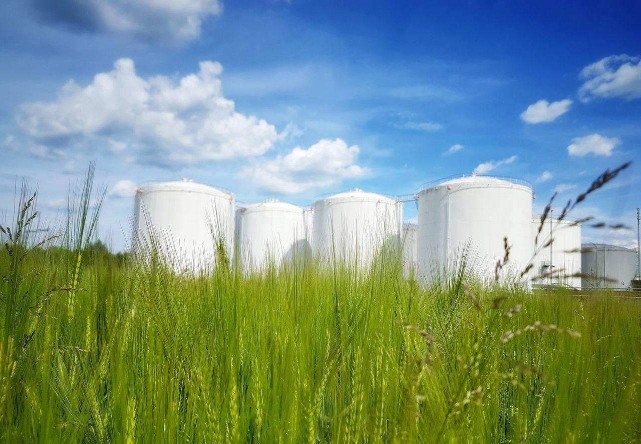 Industry Cloud - Sky Agriculture Grass Storage Tank No People Outdoors Landscape_photography Landscape The Great Outdoors - 2017 EyeEm Awards Landscape_Collection My Point Of View Field Taking Photos Scenics Beauty In Nature Nature Cereal Plant Architecture Building Exterior Industry Built Structure Silo Dramatic Sky