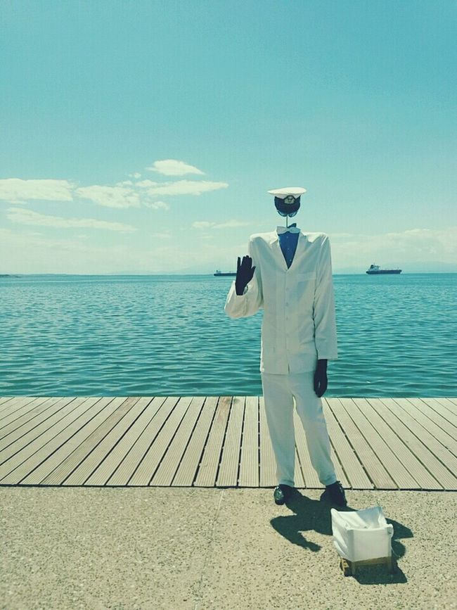 I have no one to love me but the sailor in the deep blue sea -- Greettheoutdoors Sea And Sky Meeting Point Sailor Say Cheese Invisible Man Saysomethingaboutthis
