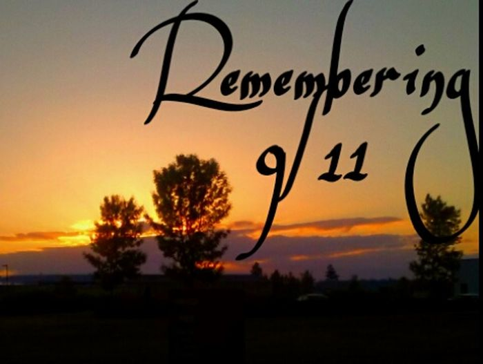 Memorial 9/11 Remember Never Forget 9/11 Never Forget❤ In Loving Memory. Silhouette Sunset Text Dramatic Sky Dusk Sky Outdoors Rural Scene Communication Nature Close-up Nature Photos Official EyeEm © Brilliance  I LOVE PHOTOGRAPHY I ❤Oregon Silhouette Brilliant Moments Golden Moments  Luminosity
