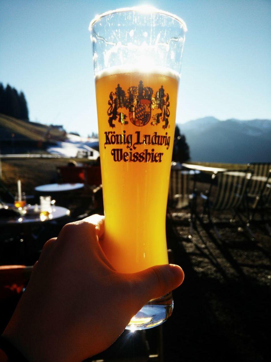 Beer - Alcohol Beer Glass Sky Sunlight Weissbier Drinking Glass