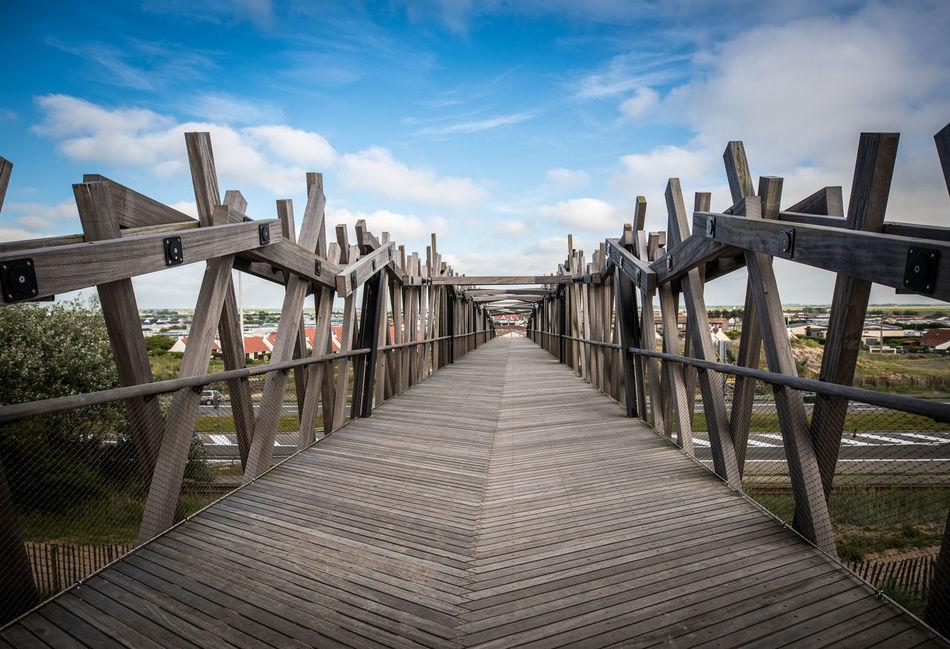 Arquitecture Bridge Brown Cloud Dry Colours No People Outdoors Sky Wood Wooden Bridge Blankenberge Beach Photography Belgium