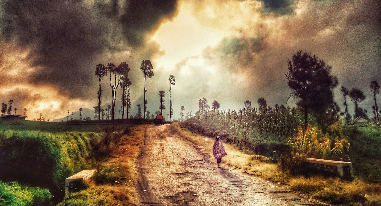 tree, sky, cloud - sky, nature, the way forward, landscape, full length, real people, grass, outdoors, one person, scenics, beauty in nature, road, day, growth, men, people
