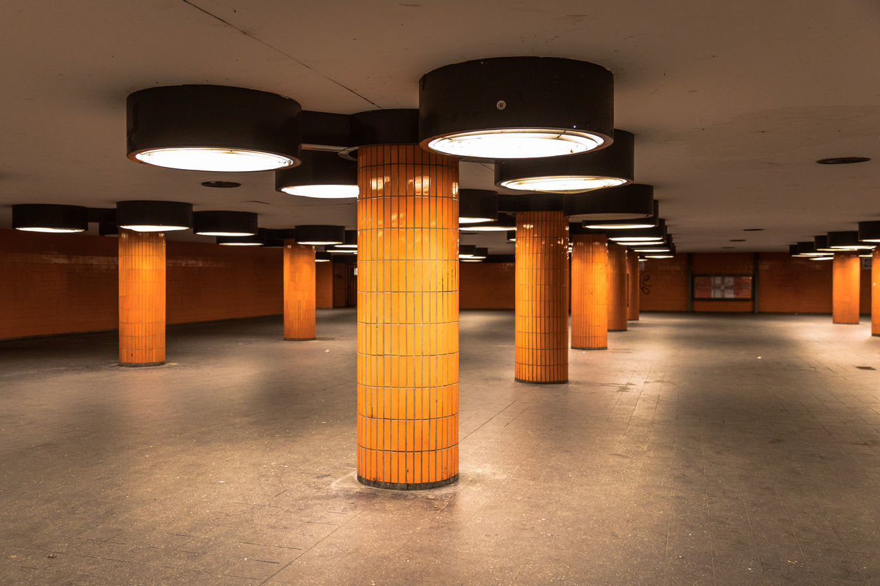 Abstract Architectural Column Architecture Built Structure Day Down Under Illuminated Indoors  Lighting Equipment No People Orange Orange Color Parking Garage Pillar Underground Underground Station