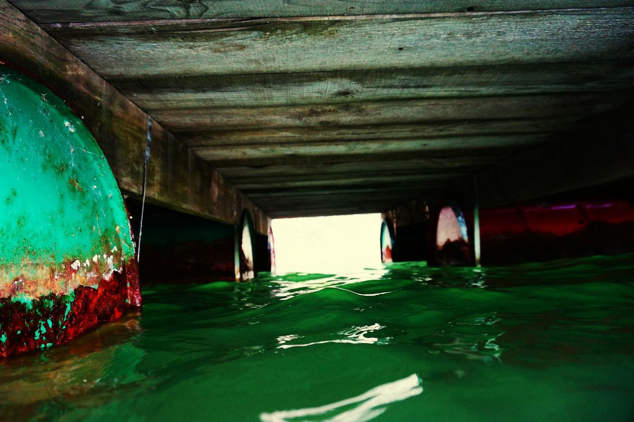 water, architecture, underneath, built structure, no people, indoors, architectural column, day, nature