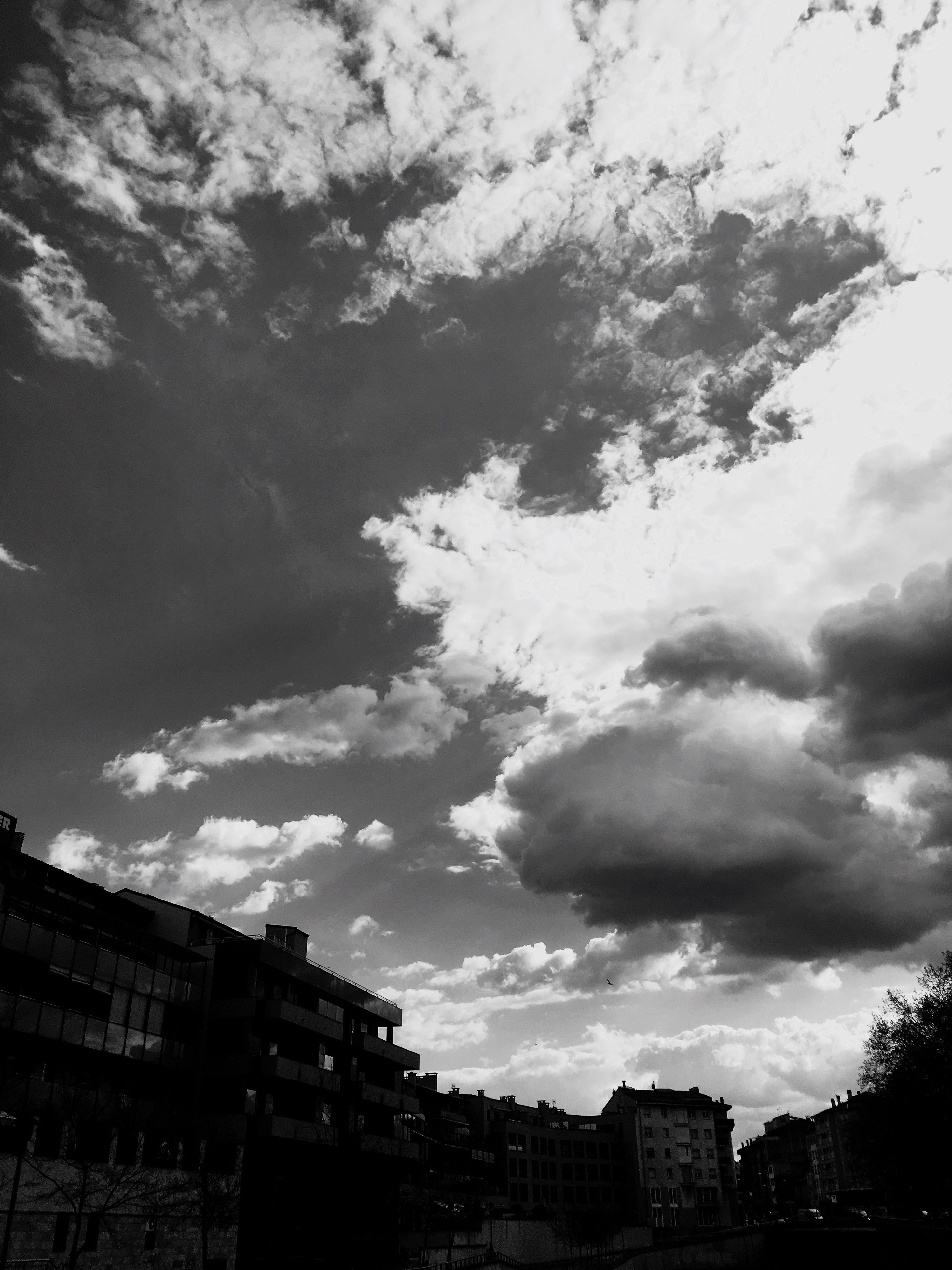 sky, built structure, architecture, cloud - sky, building exterior, low angle view, tree, no people, outdoors, nature, city, day